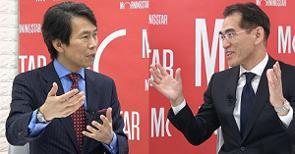 アムンディのESGへの取り組みについて、アムンディ・ジャパンのチーフ・レスポンシブル・インベストメント・オフィサー岩永泰典氏(写真:左)にモーニングスター代表取締役社長の朝倉智也(写真:右)が聞いた。